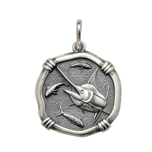 Guy Harvey Large size Marlin Medallion Relic Finish Sterling Silver
