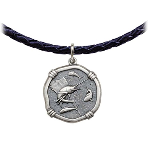 Guy Harvey Sailfish Leather Necklace Relic Finish 25mm Sterling Silver