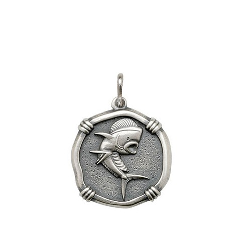 Guy Harvey Medium size Dolphin Medallion Relic Finish Sterling Silver