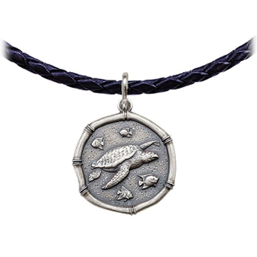 Guy Harvey Sea Turtle Leather Necklace Relic Finish 25mm Sterling Silver