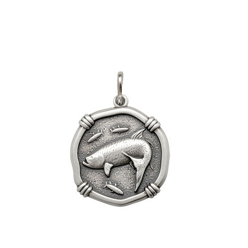 Guy Harvey Medium size Tarpon Medallion Relic Finish Sterling Silver