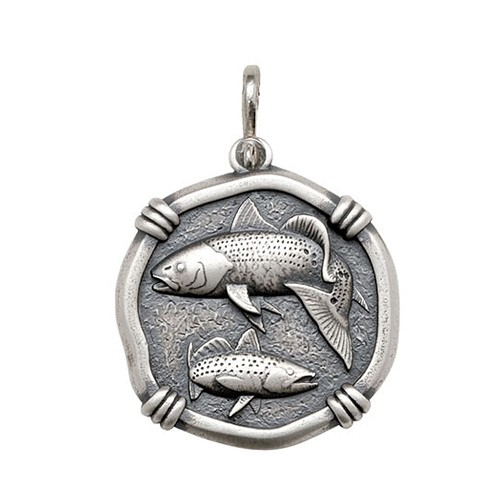 Guy Harvey Large size Redfish & Trout Medallion Relic Finish Sterling Silver
