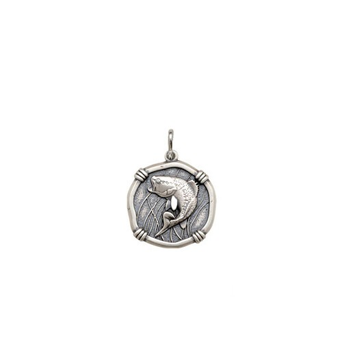 Petite size Bass Medallion Relic Finish Sterling Silver