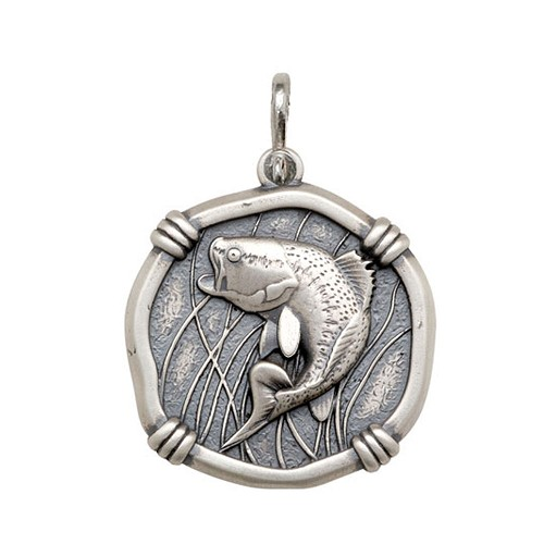 Guy Harvey Large size Bass Medallion Relic Finish Sterling Silver