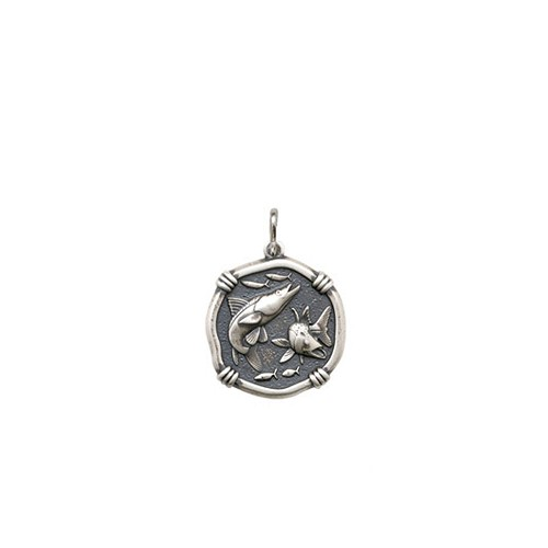 Guy Harvey Petite size Snook Medallion Relic Finish Sterling Silver