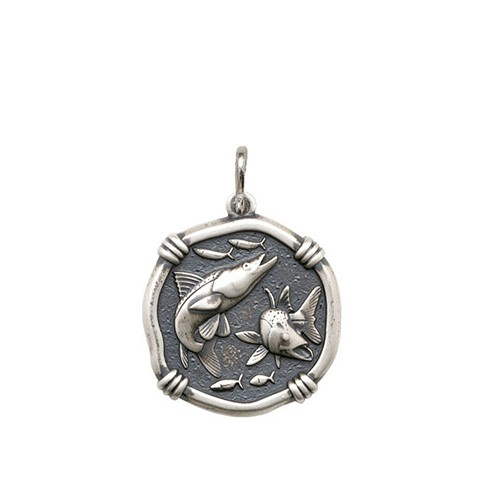 Guy Harvey Medium size Snook Medallion Relic Finish Sterling Silver