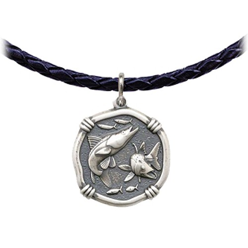 Guy Harvey Snook Leather Necklace Relic Finish 25mm Sterling Silver