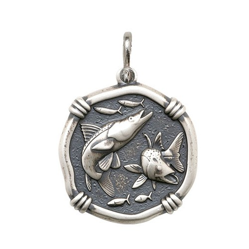 Guy Harvey Large size Snook Medallion Relic Finish Sterling Silver