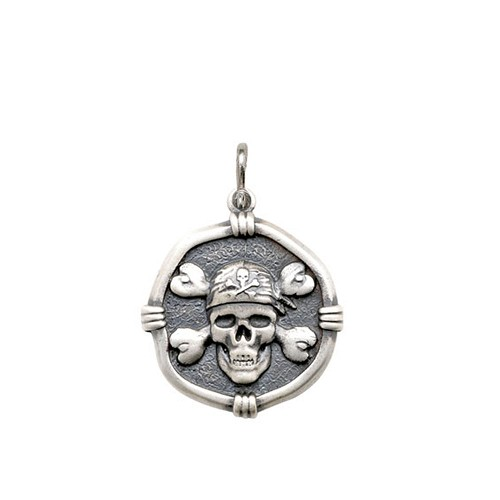 Guy Harvey Medium size Pirate Medallion Relic Finish Sterling Silver