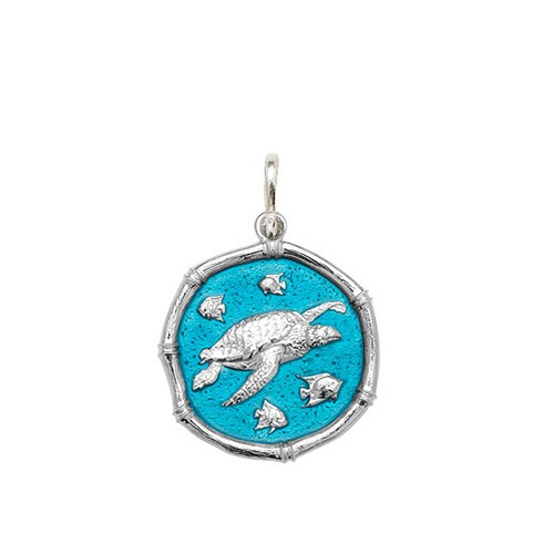 Guy Harvey Medium size Cayman Green enameled Sterling Silver Sea Turtle Medallion