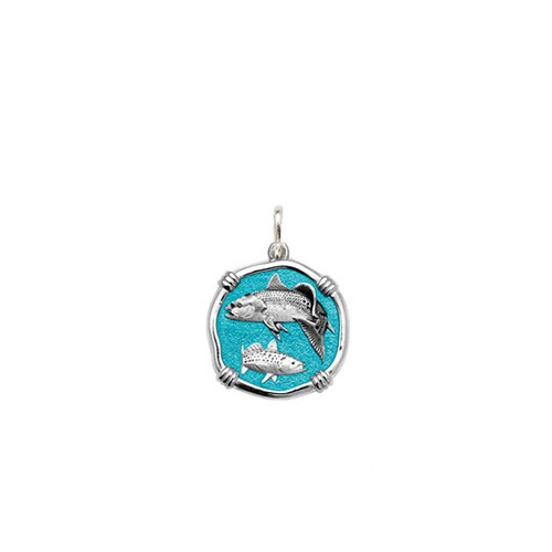 Guy Harvey Petite size Cayman Green enameled Sterling Silver Redfish & Trout Medallion