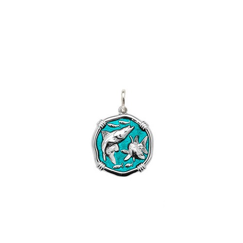 Guy Harvey Petite size Cayman Green enameled Sterling Silver Snook Medallion