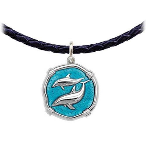 Guy Harvey Porpoise Medallion Crafted in Sterling Silver Cayman Green Enamel Medium Size 25mm
