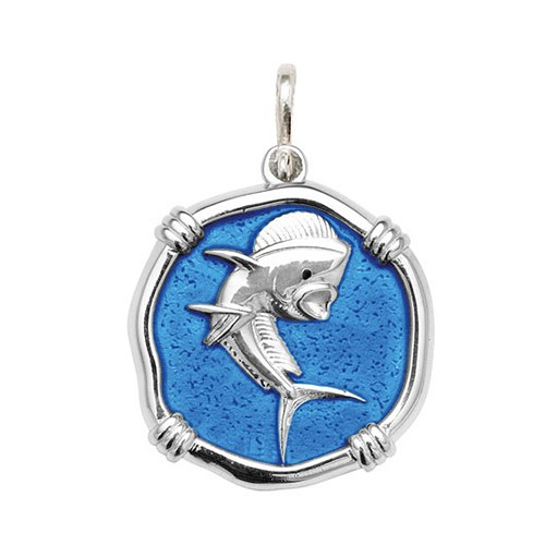 Guy Harvey Large size Caribbean Blue enameled Sterling Silver Dolphin Medallion