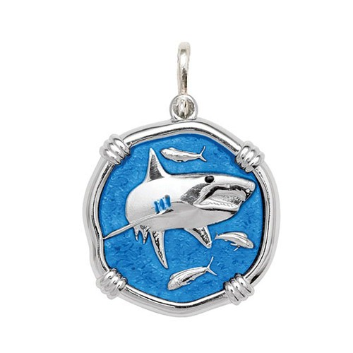 Guy Harvey Large size Caribbean Blue enameled Sterling Silver Shark Medallion