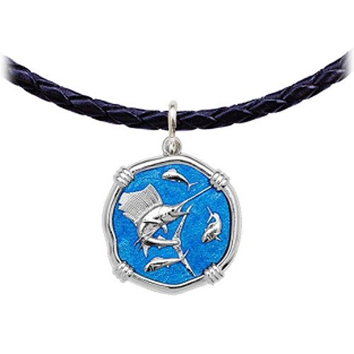 Guy Harvey Sailfish Leather Necklace Caribbean Blue Enamel Bright Finish 25mm Sterling Silver
