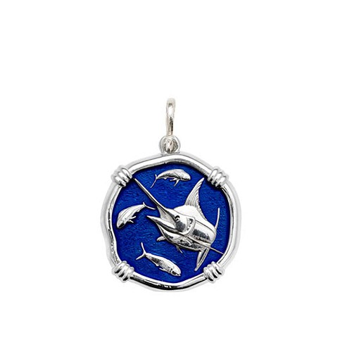Guy Harvey Medium size Gulf Stream Blue enameled Sterling Silver Marlin Medallion