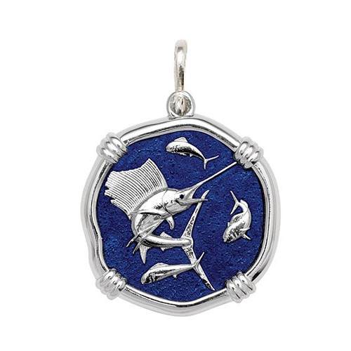 Guy Harvey Large size Gulf Stream Blue enameled Sterling Silver Sailfish Medallion