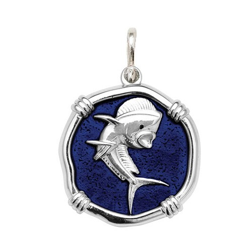 Guy Harvey Large size Gulf Stream Blue enameled Sterling Silver Dolphin Medallion