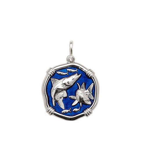 Guy Harvey Medium size Gulf Stream Blue enameled Sterling Silver Snook Medallion