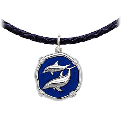 Guy Harvey Porpoises Leather Necklace Gulf Stream Blue Enamel Bright Finish 25mm Sterling Silver