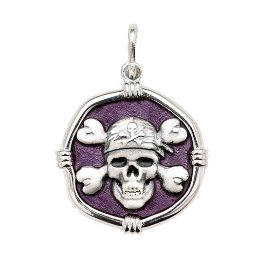 Guy Harvey Large size Purple enameled Sterling Silver Pirate Medallion