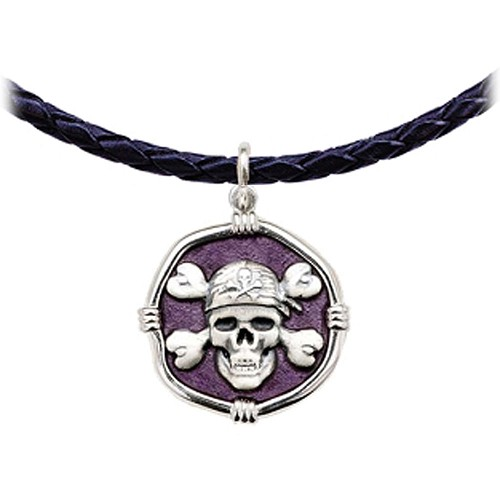Guy Harvey Pirate Leather Necklace Purple Enamel Bright Finish 25mm Sterling Silver