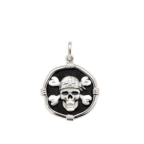 Guy Harvey Medium size Black enameled Sterling Silver Pirate Medallion