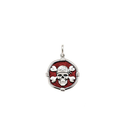Guy Harvey Petite size Red enameled Sterling Silver Pirate Medallion