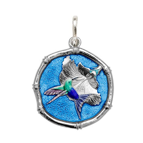 Guy Harvey Large size Full Color Blue enameled Sterling Silver Hummingbird Medallion