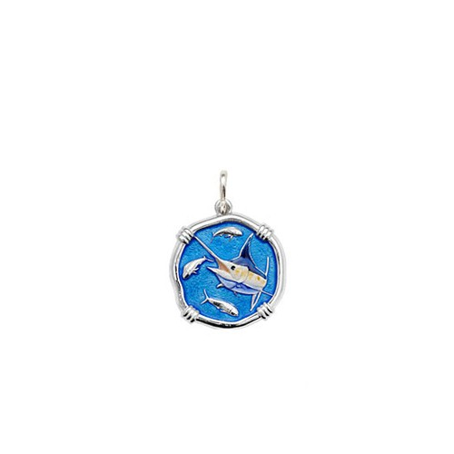 Guy Harvey Petite size Full Color enameled Sterling Silver Marlin Medallion