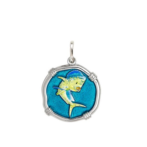 Medium size Full Color enameled Sterling Silver Dolphin Medallion