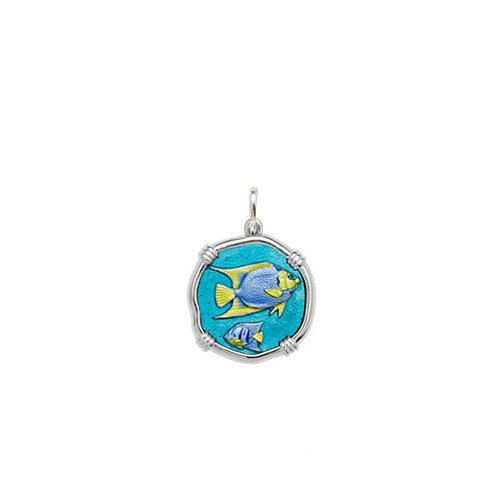 Guy Harvey Petite size Full Color enameled Sterling Silver Angelfish Medallion