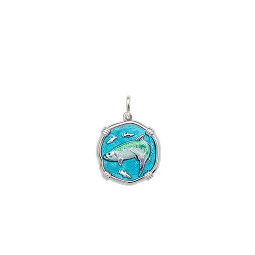 Guy Harvey Petite size Full Color enameled Sterling Silver Tarpon Medallion