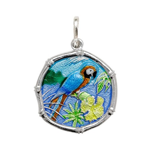 Guy Harvey Large size Full Color enameled Sterling Silver Macaw Medallion