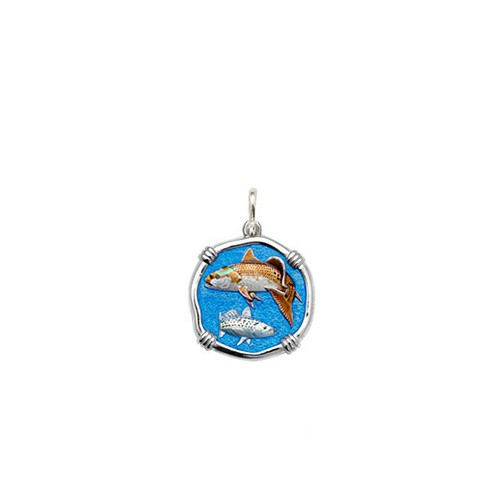 Guy Harvey Petite size Full Color enameled Sterling Silver Redfish & Trout Medallion