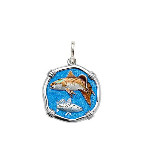 Guy Harvey Medium size Full Color enameled Sterling Silver Redfish & Trout Medallion