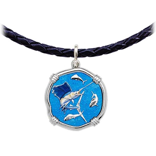 Guy Harvey Sailfish Leather Necklace Full Color Enamel Bright Finish 25mm Sterling Silver