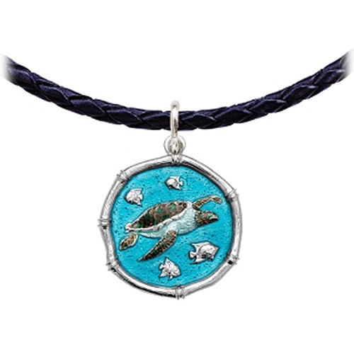 Guy Harvey Sea Turtle Leather Necklace Full Color Enamel Bright Finish 25mm Sterling Silver