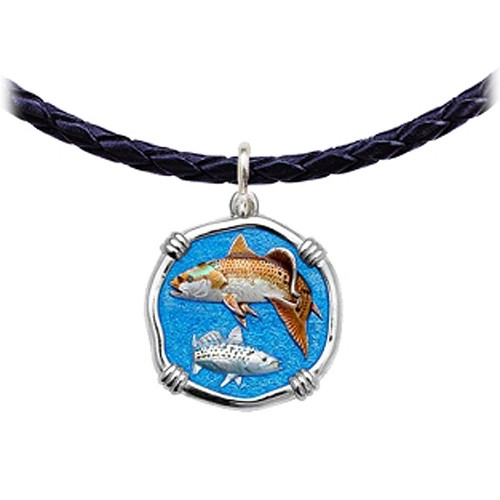 Guy Harvey Redfish & Trout Leather Necklace Full Color Enamel Bright Finish 25mm Sterling Silver