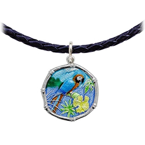 Guy Harvey Macaw Parrot Leather Necklace Full Color Enamel Bright Finish 25mm Sterling Silver