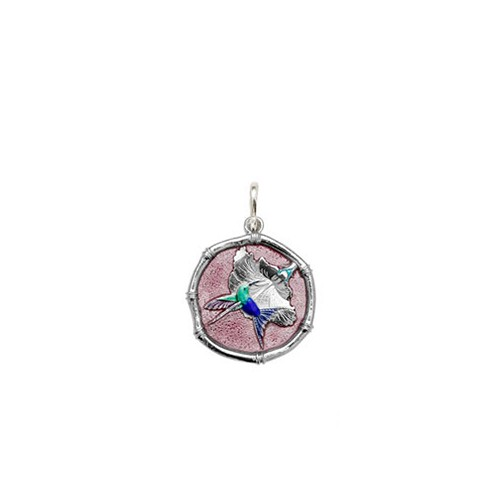Guy Harvey Petite size Full Color Pink enameled Sterling Silver Hummingbird Medallion