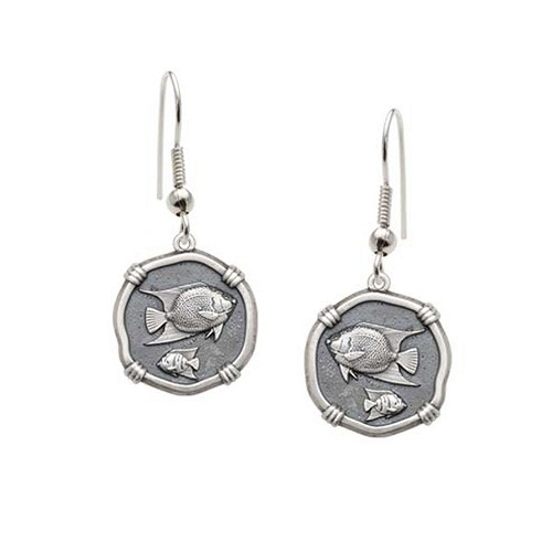 Guy Harvey Angelfish Wire Dangle Earrings Relic Finish 15mm Sterling Silver