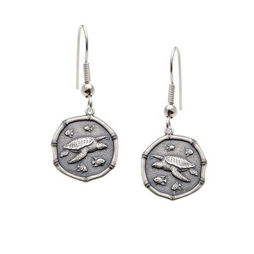 Guy Harvey Sea Turtle Wire Dangle Earrings Relic Finish 15mm Sterling Silver