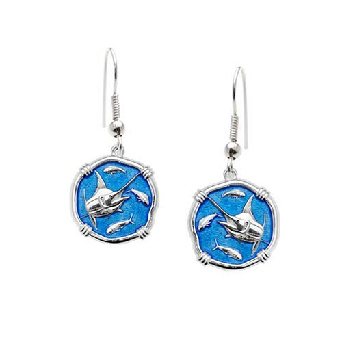 Guy Harvey Marlin Dangle Earrings Caribbean Blue Enamel Bright Finish 15mm Sterling Silver