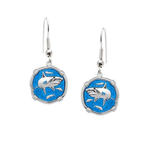 Guy Harvey Shark Dangle Earrings Caribbean Blue Enamel Bright Finish 15mm Sterling Silver