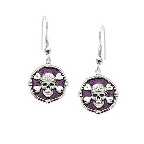 Guy Harvey Pirate Dangle Earrings Purple Enamel Bright Finish 15mm Sterling Silver