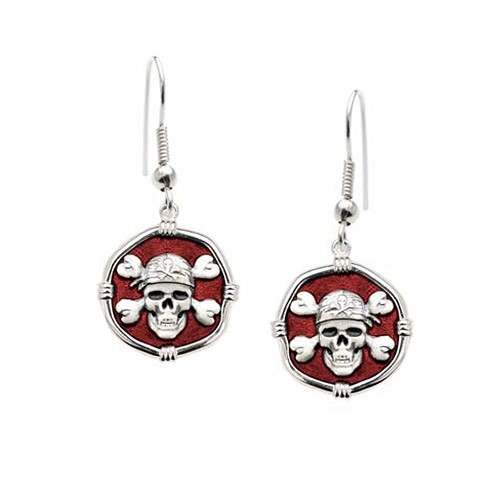 Guy Harvey Pirate Dangle Earrings Red Enamel Bright Finish 15mm Sterling Silver