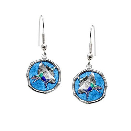 Guy Harvey Hummingbird Sterling Silver Wire Dangle Earrings Full Color Blue Enamel