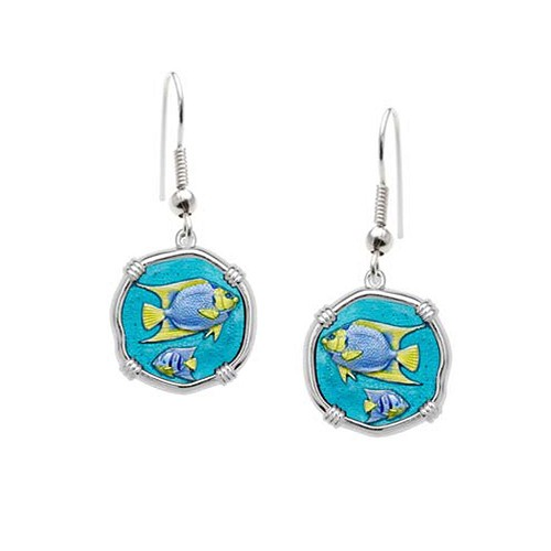 Guy Harvey Angelfish Wire Dangle Earrings Full Color Enamel Bright Finish 15mm Sterling Silver